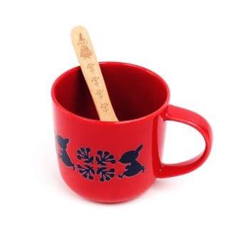 紅色嚕嚕米Moomin馬克杯與木匙-小不點